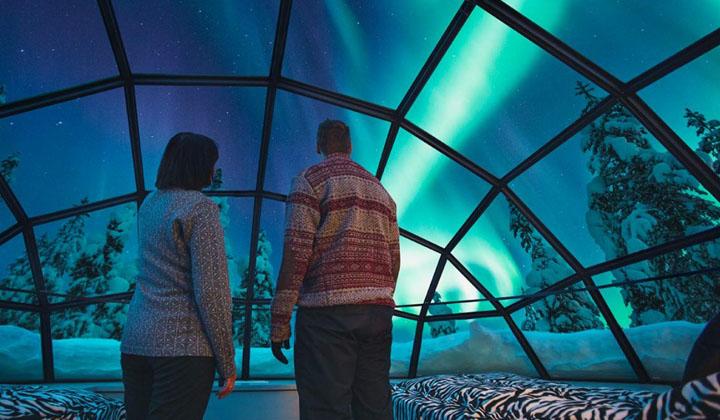 芬兰极光行 玻璃屋中见证苍穹