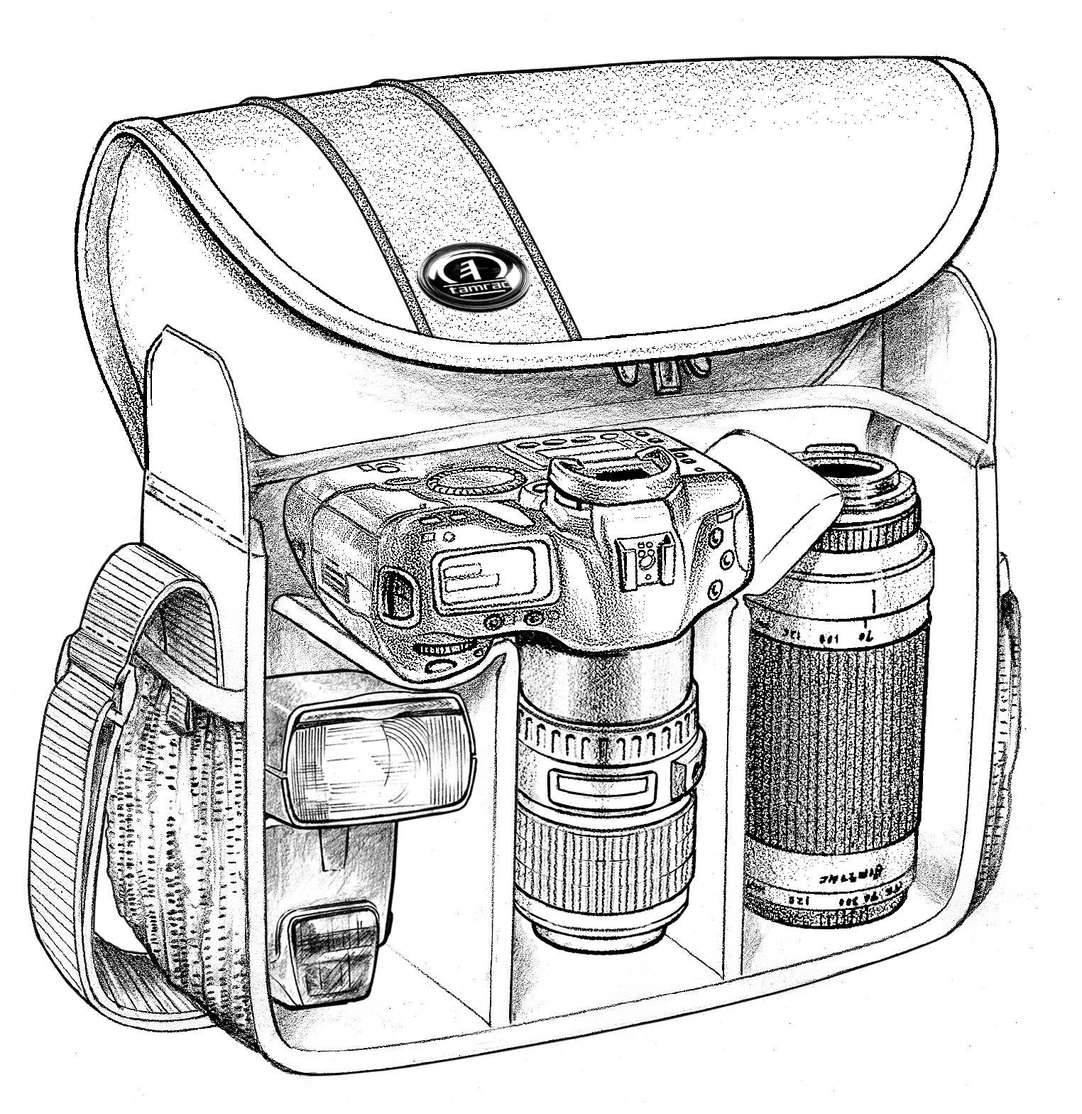 单反相机手绘线稿